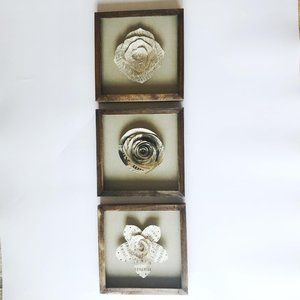 Flower Shadow Box Wall Hangings – Set of 3